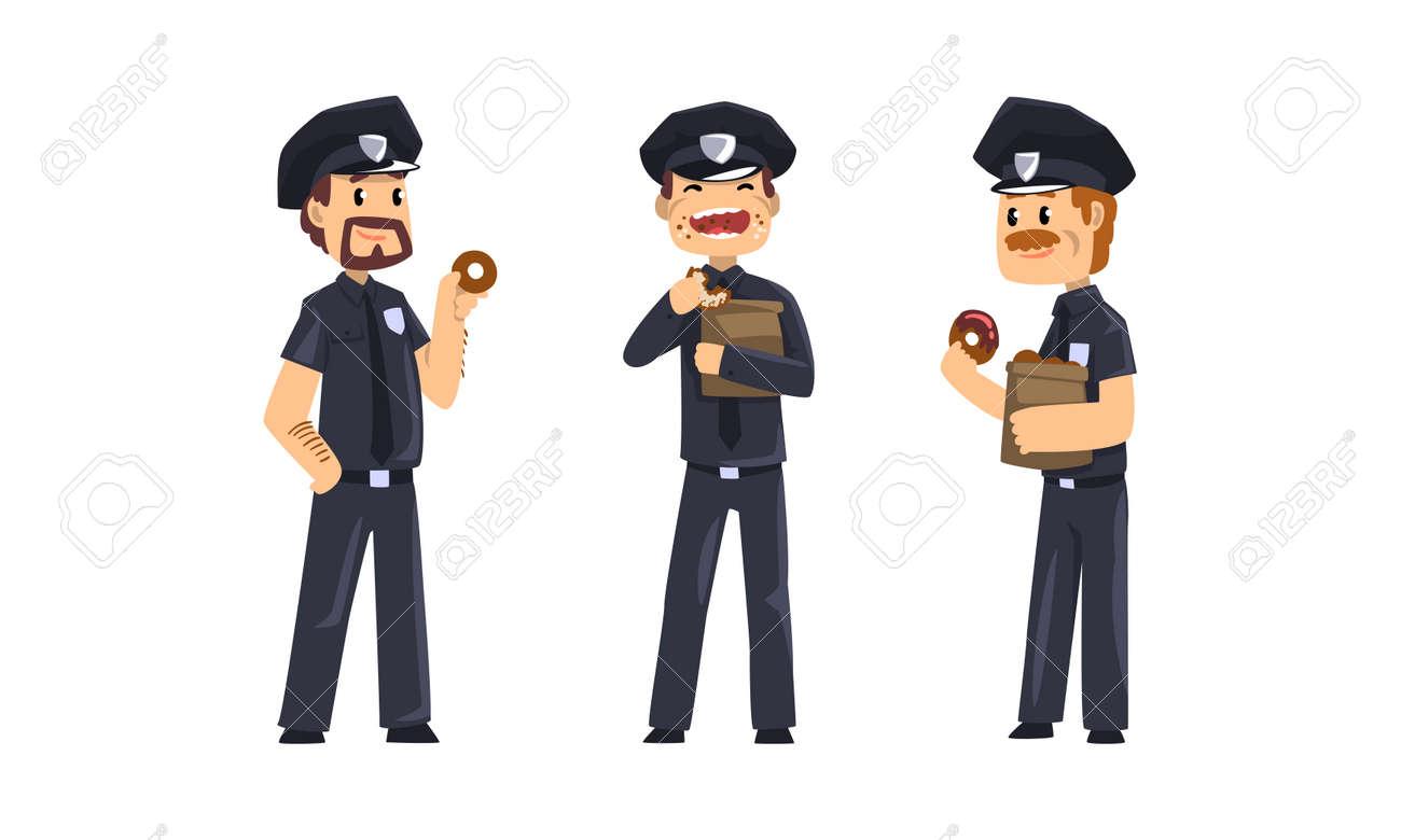 Male Police Officers Eating Donuts Set, Policemen in Blue Uniform Having Lunch Vector Illustration - 166979456