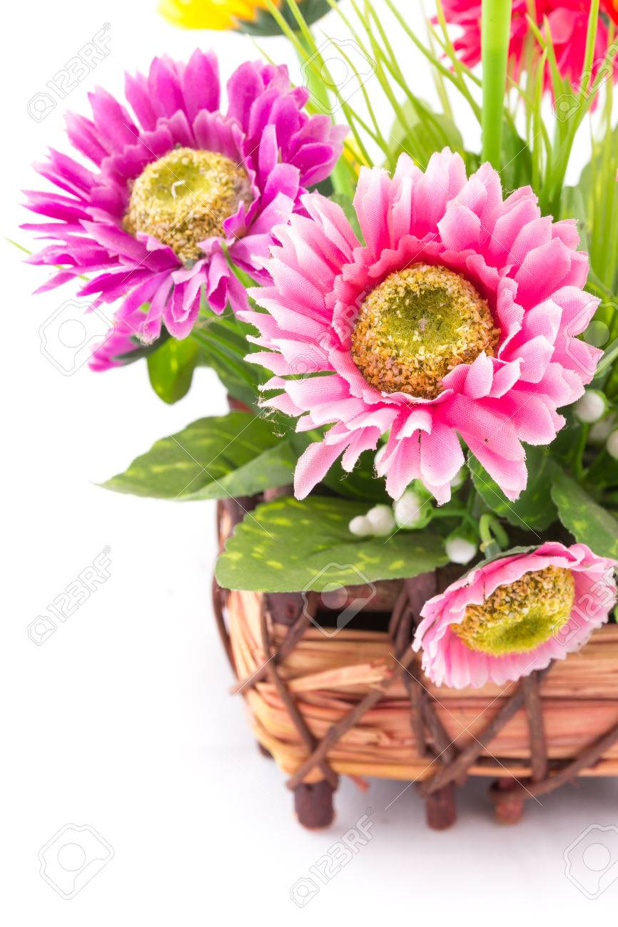 The Isolated Of The Fake Flower With Colorful Daisy On White Stock