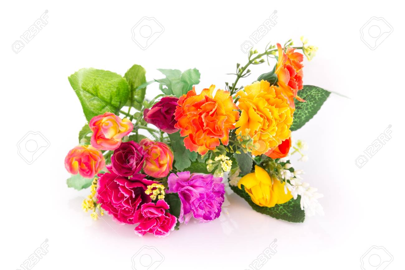 The isolated bouquet of fake flower is rose colorful on white stock photo the isolated bouquet of fake flower is rose colorful on white background izmirmasajfo Images