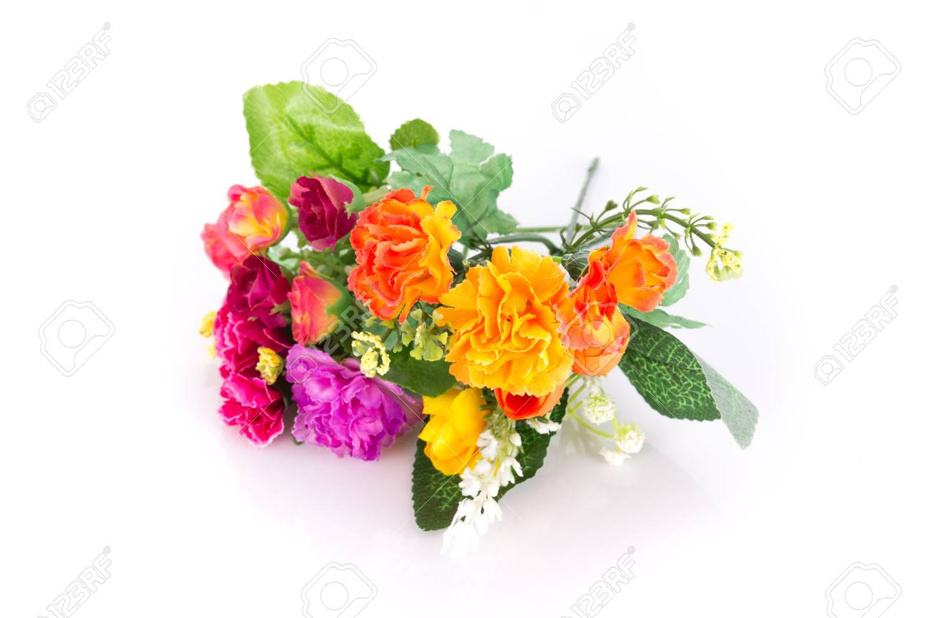 The isolated bouquet of fake flower is rose colorful on white stock photo the isolated bouquet of fake flower is rose colorful on white background izmirmasajfo