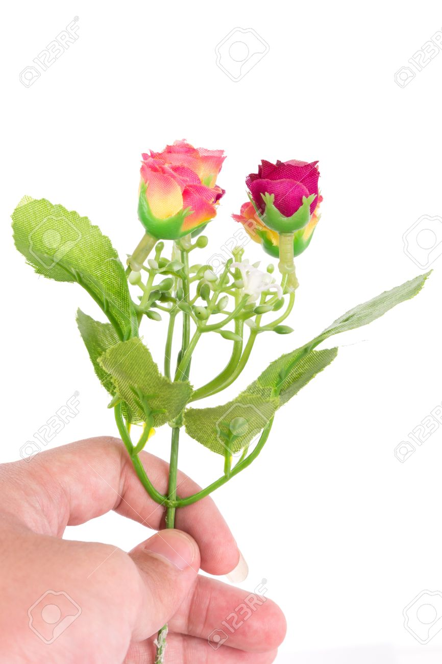 The Isolated Bouquet Of Fake Flower Is Give To Rose Colorful Stock