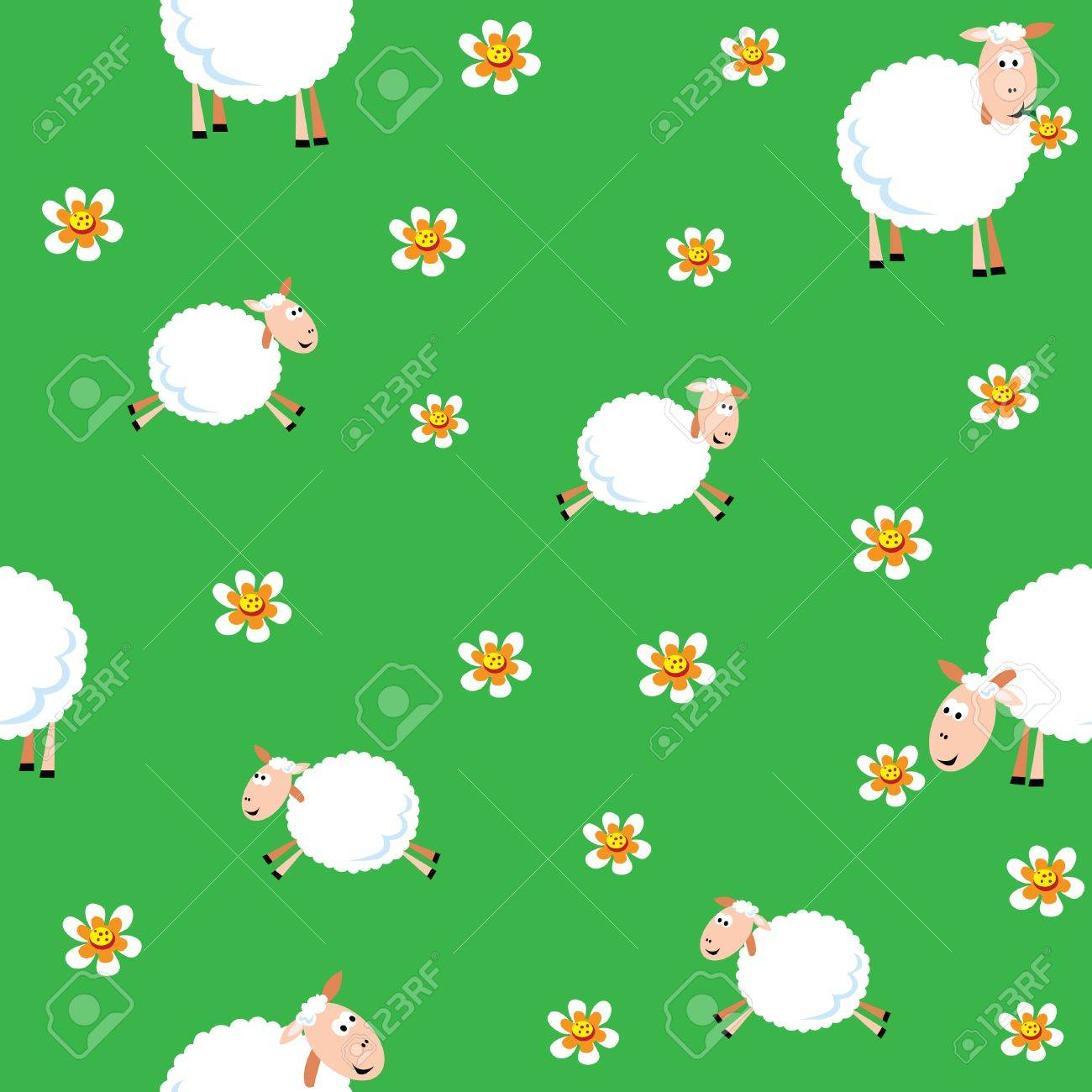 Seamless pattern of sheep and lambs in the meadow Stock Vector - 10587607