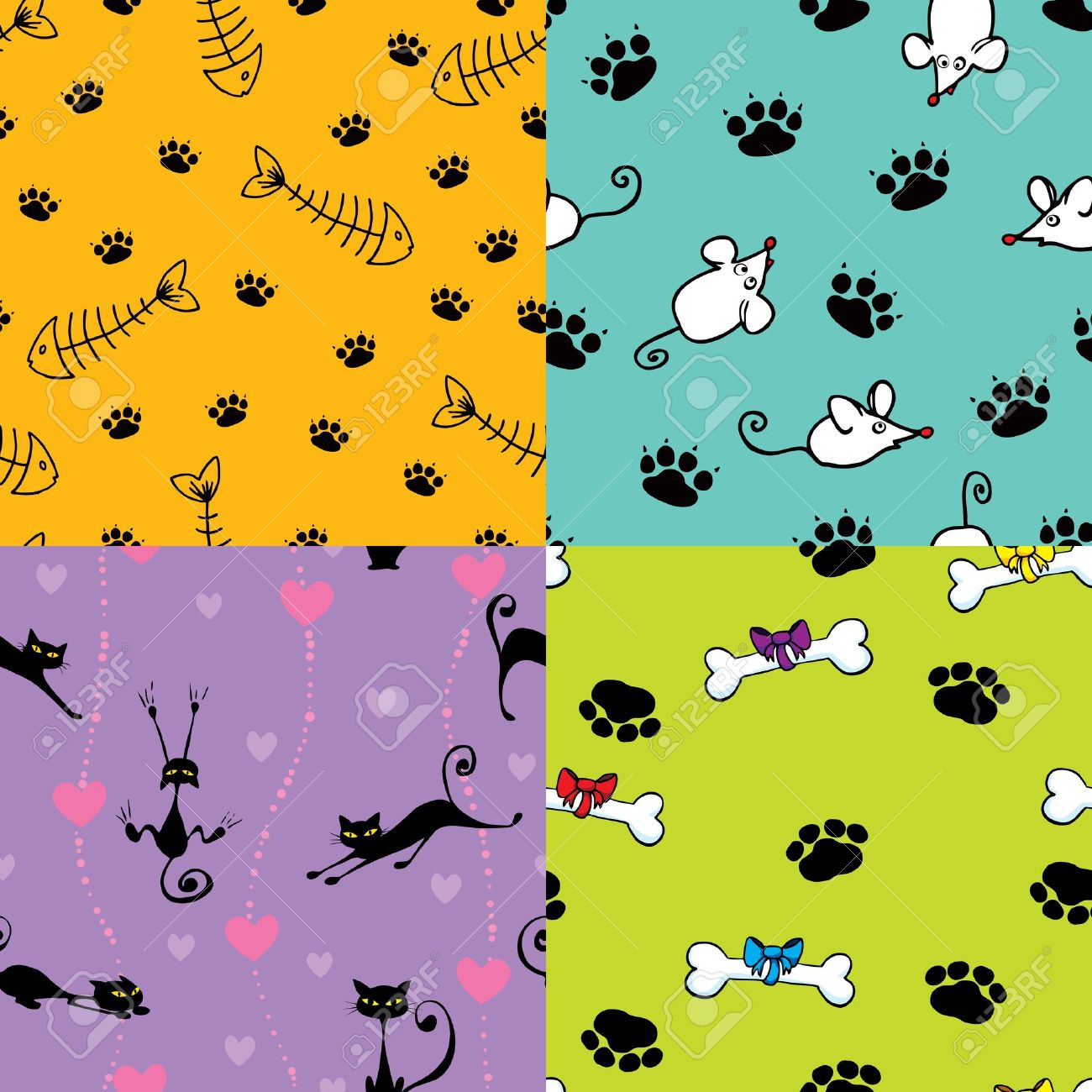 Four seamless pattern with cats and dog themes Stock Vector - 11487755