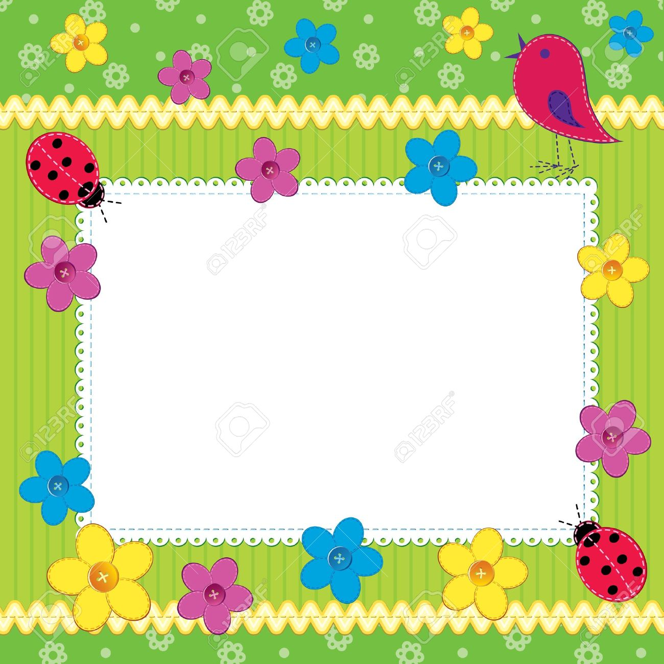 Scrapbook photo frame or card with cute flowers and butterfly Stock Vector - 11487740