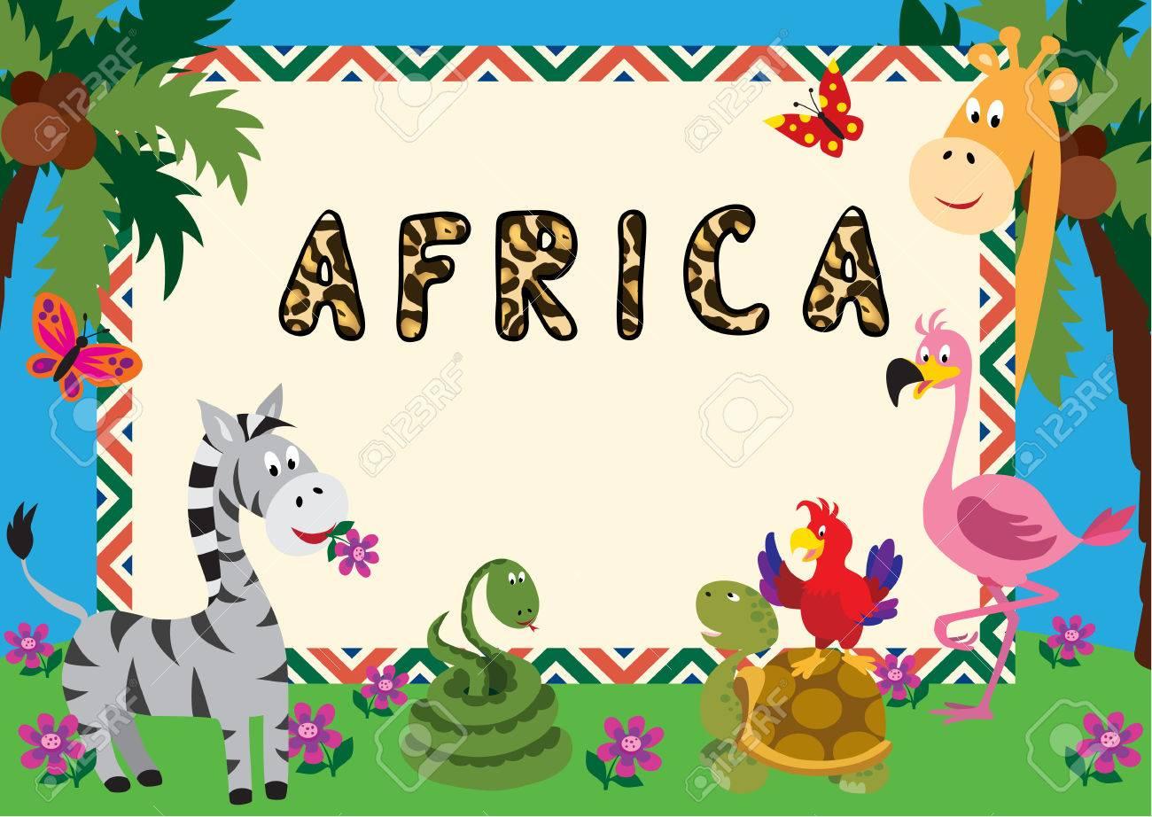 Cute Cartoon Animals Make A Colourful Frame For A Greeting Card