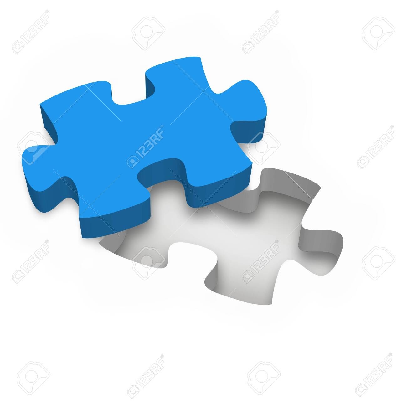 one single blue jigsaw puzzle piece on white background - business concept - 134291198