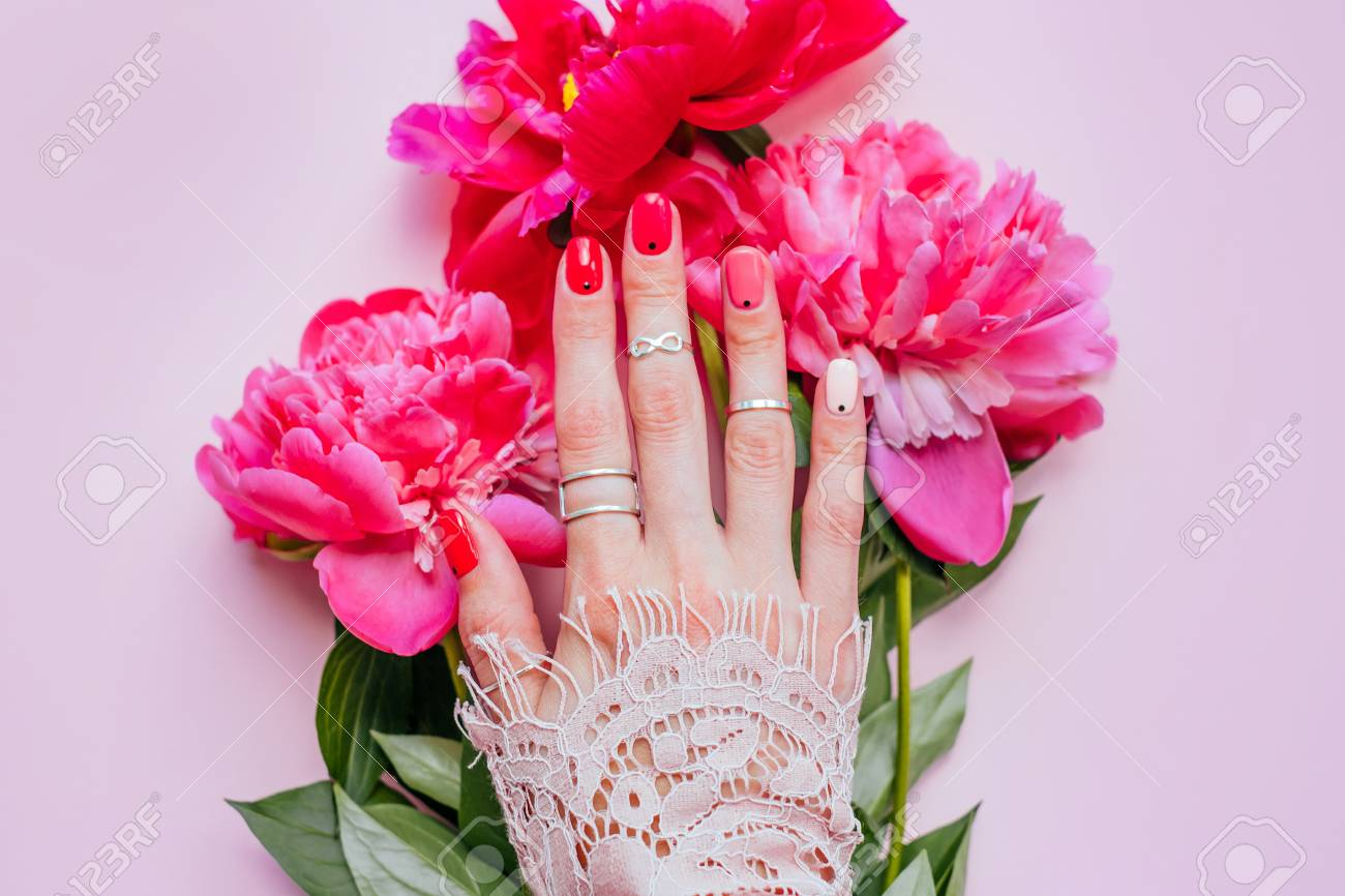 Creative Bright Trendy Summer Manicure With Nails Of Different