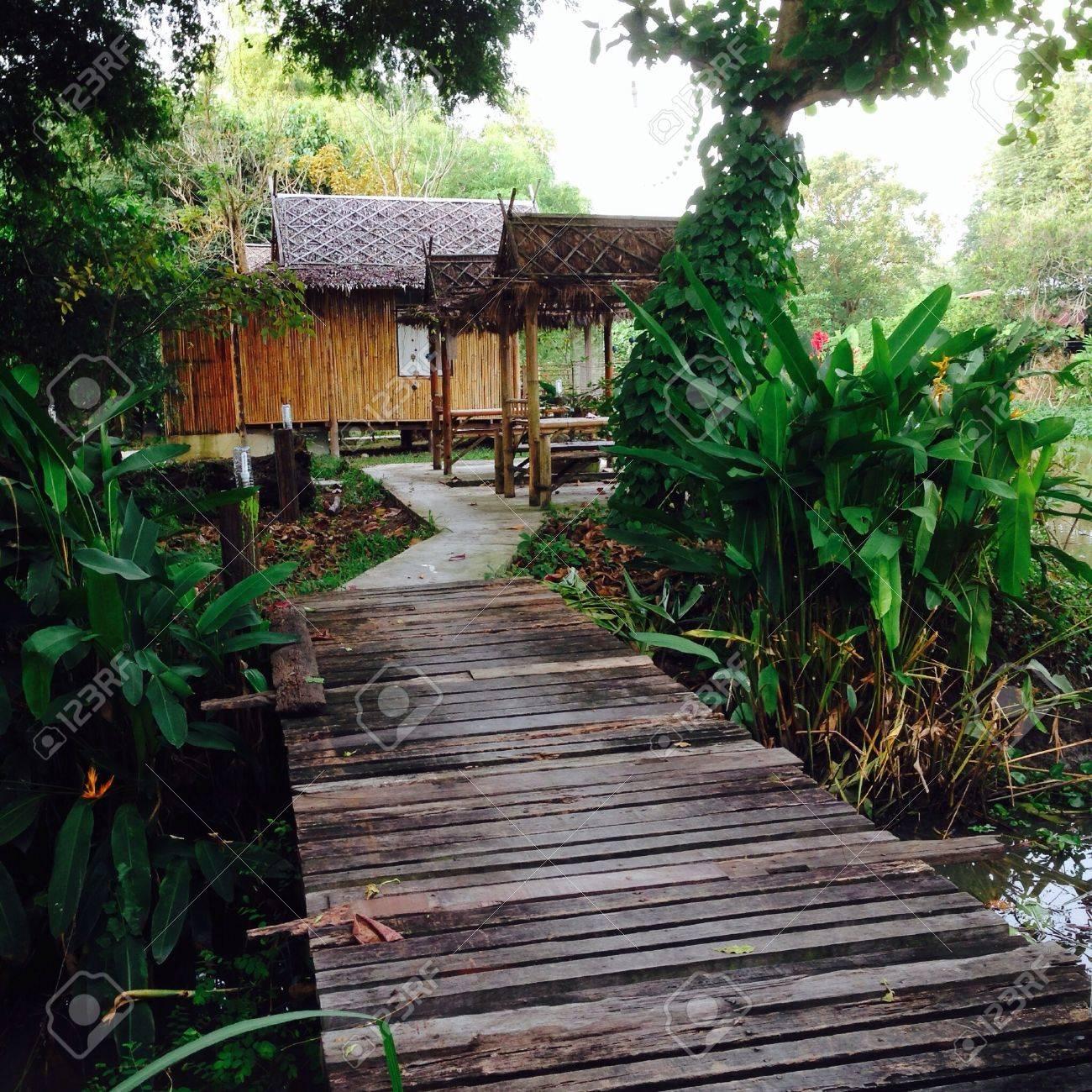 Bamboo Hut In The Garden. Stock Photo   24403515