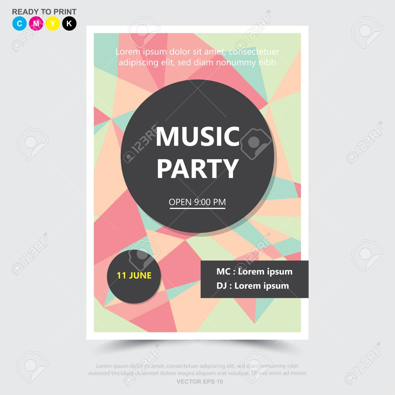party music poster brochure flyer design template ロイヤリティ