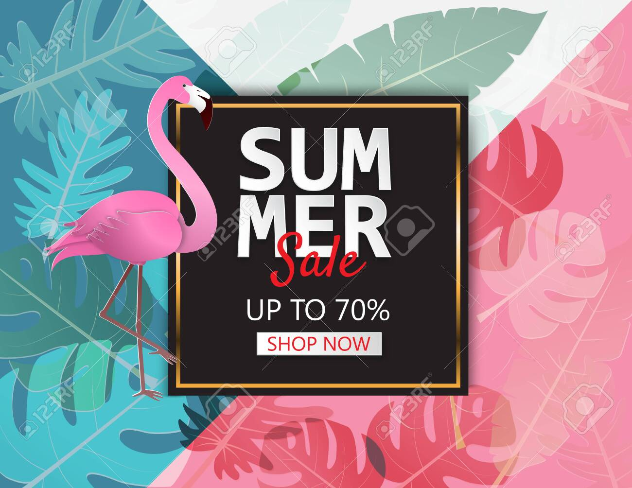Creative illustration summer sale banner with flamingo and tropical