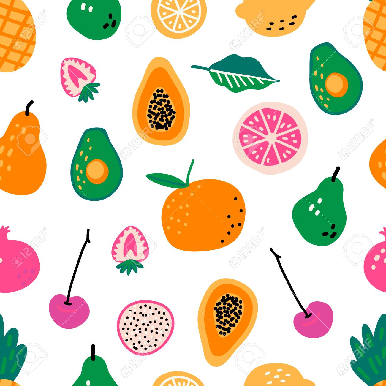 Seamless pattern with fruits. Hand drawn vector illustration. Cooking ingredients or courses background. Recipe cartoon template. Scandinavian style cafe menu greengrocery, banner, cookbook page. - 149439649