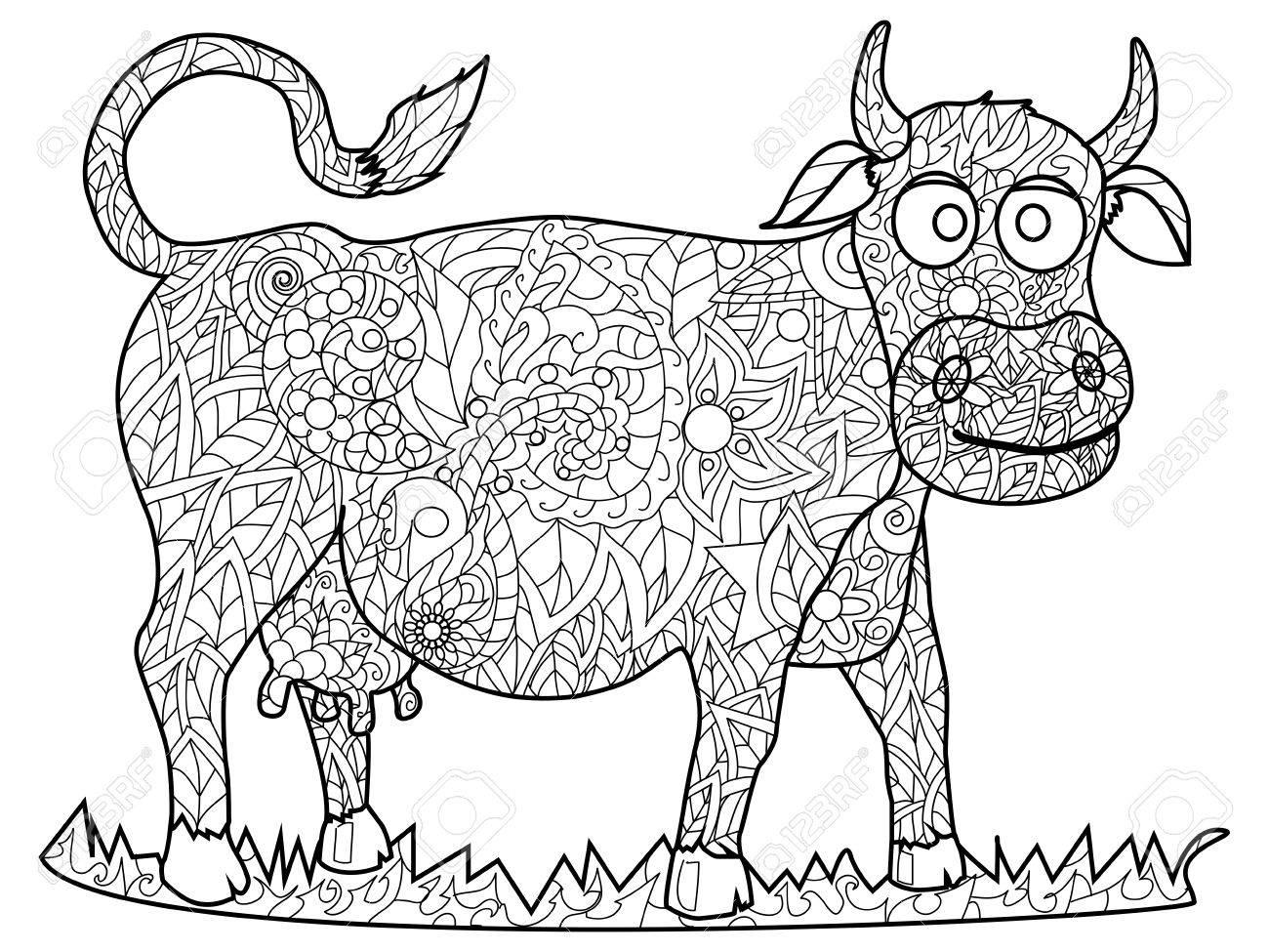 Kuh Färbung Haustier Erwachsenen Vektor-Illustration. Lizenzfrei
