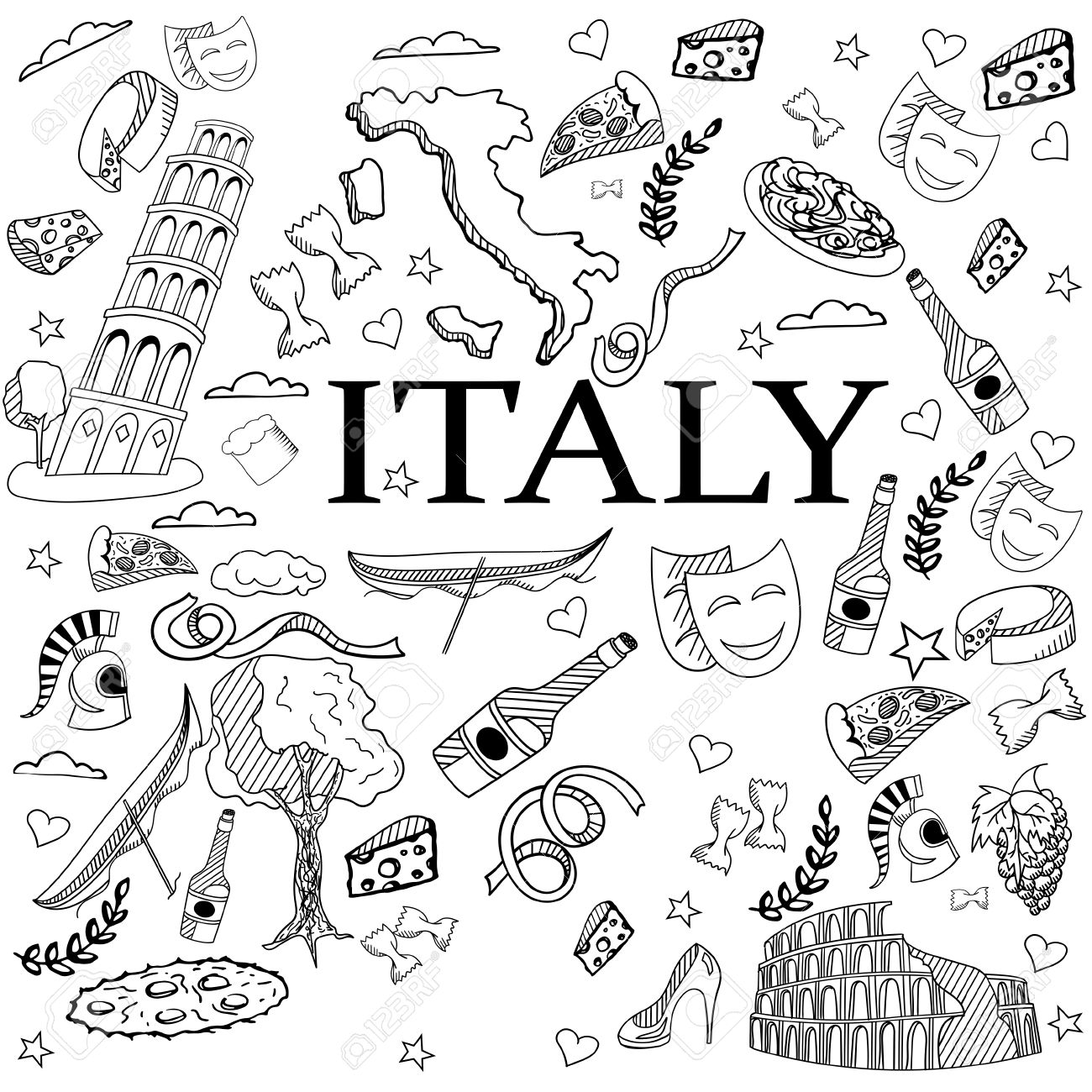 Italy Coloring Book Line Art Design Vector Illustration. Separate ...