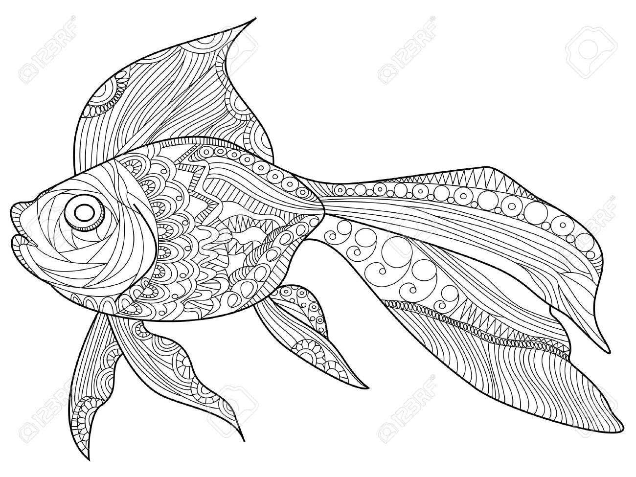 金魚の海の動物が大人ベクトル イラストの塗り絵のイラスト素材