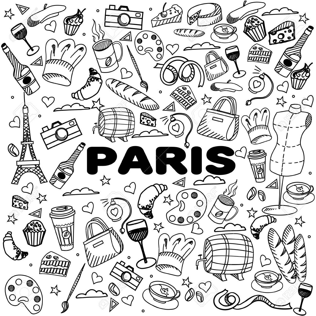 Paris Coloring Book Line Art Design Vector Illustration. Separate ...