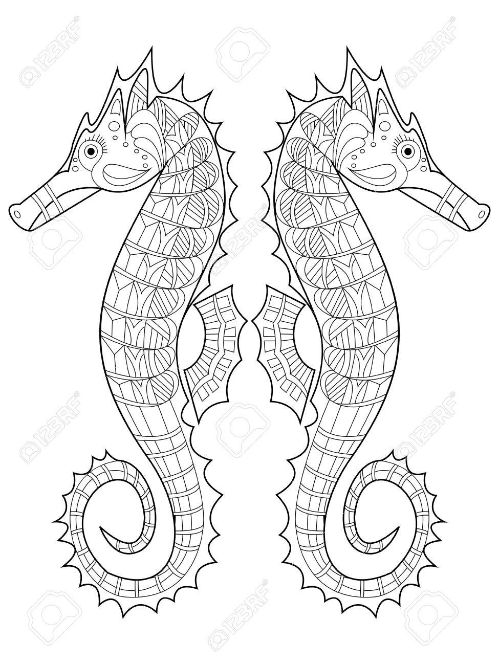 Sea Horse Coloring Book For Adults Vector Illustration. Anti-stress ...