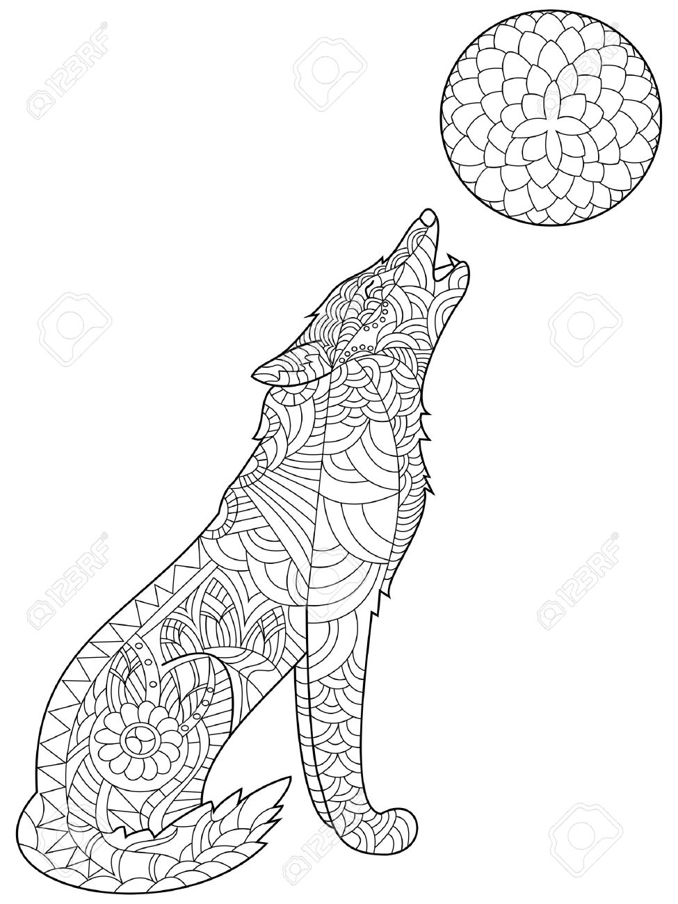 - Wolf Coloring Book For Adults Vector Illustration. Anti-stress