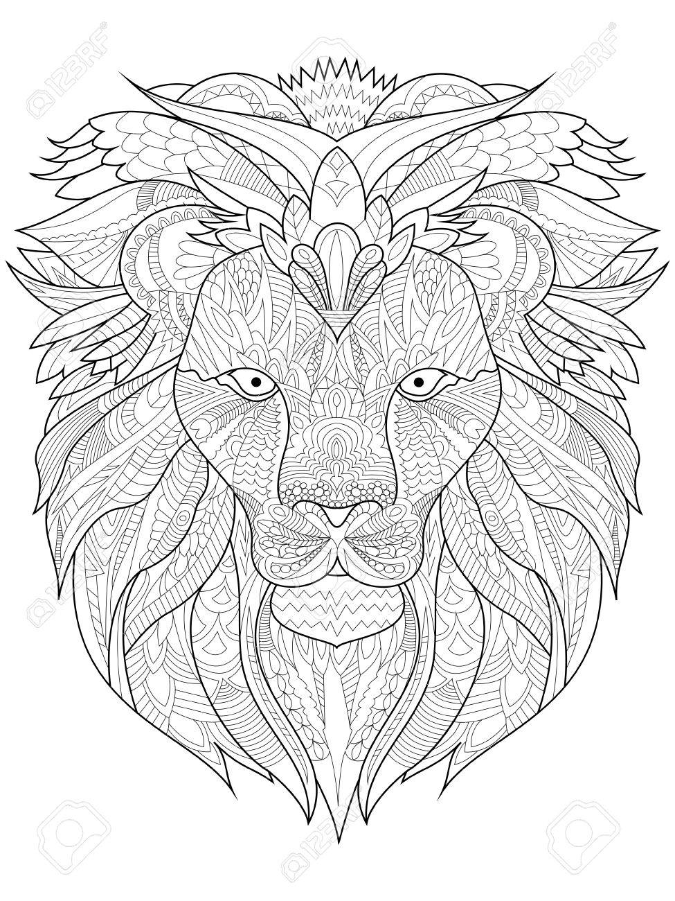 Lion Coloring Book For Adults Vector Illustration. Anti-stress ...