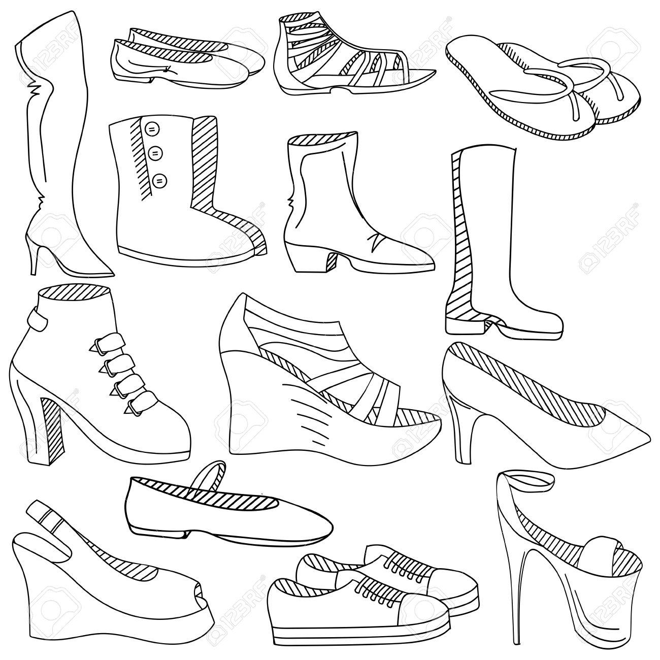 Zapatos De Las Mujeres Para Colorear Línea De Libro De Arte De La Ilustración De Diseño Vectorial Objetos Separados Dibujado A Mano Elementos De