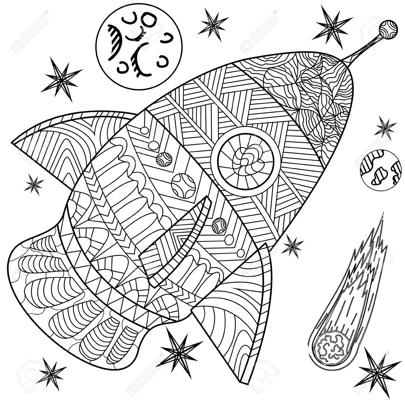 Space Coloring Book Line Art Design Vector Illustration. Separate ...