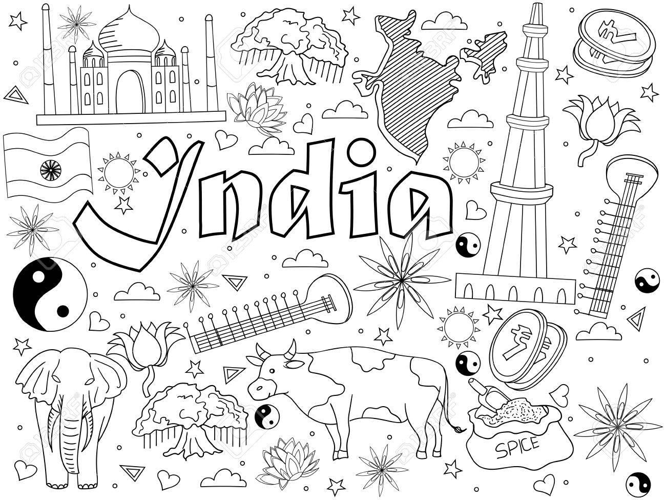 India Coloring Book Line Art Design Vector Illustration. Separate ...