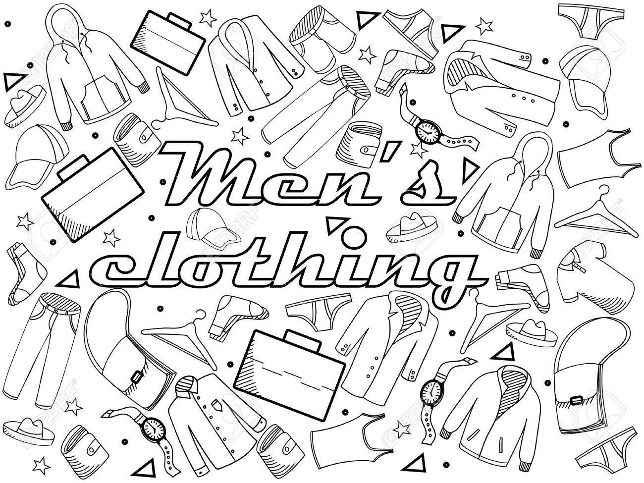 Hombres Ilustración Línea Libro De Arte De Diseño Vectorial Para Colorear La Ropa Objetos Separados Dibujado A Mano Elementos De Diseño Del Doodle
