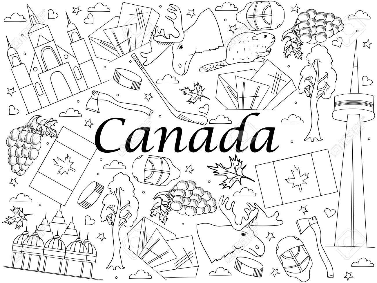 Canadá Libro De Colorear La Línea De Arte Del Diseño Del Vector ...