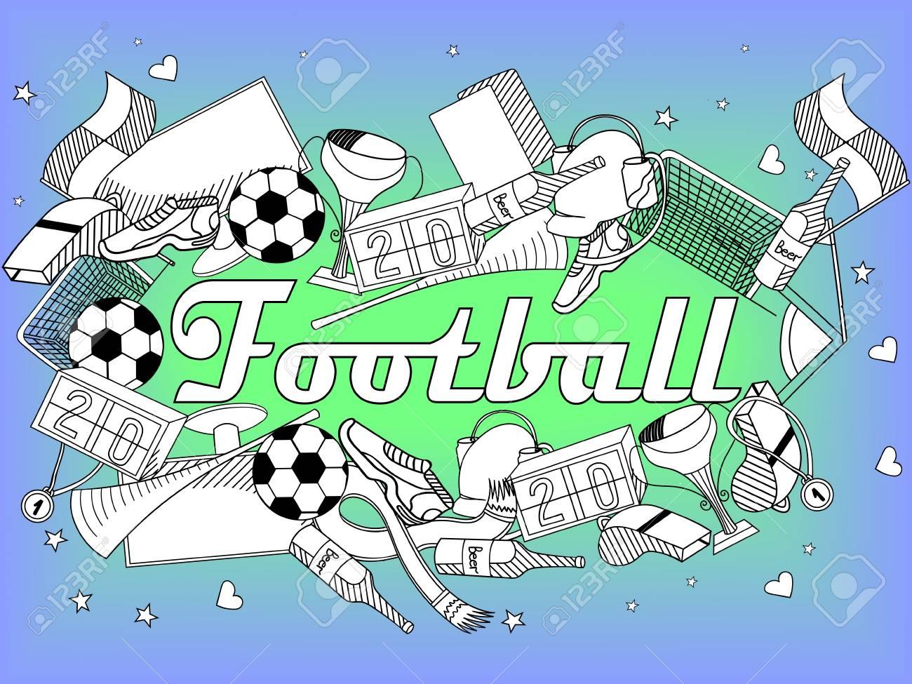 Buchlinie Kunst-Design Vektor-Illustration Fußball-Färbung. Separate ...