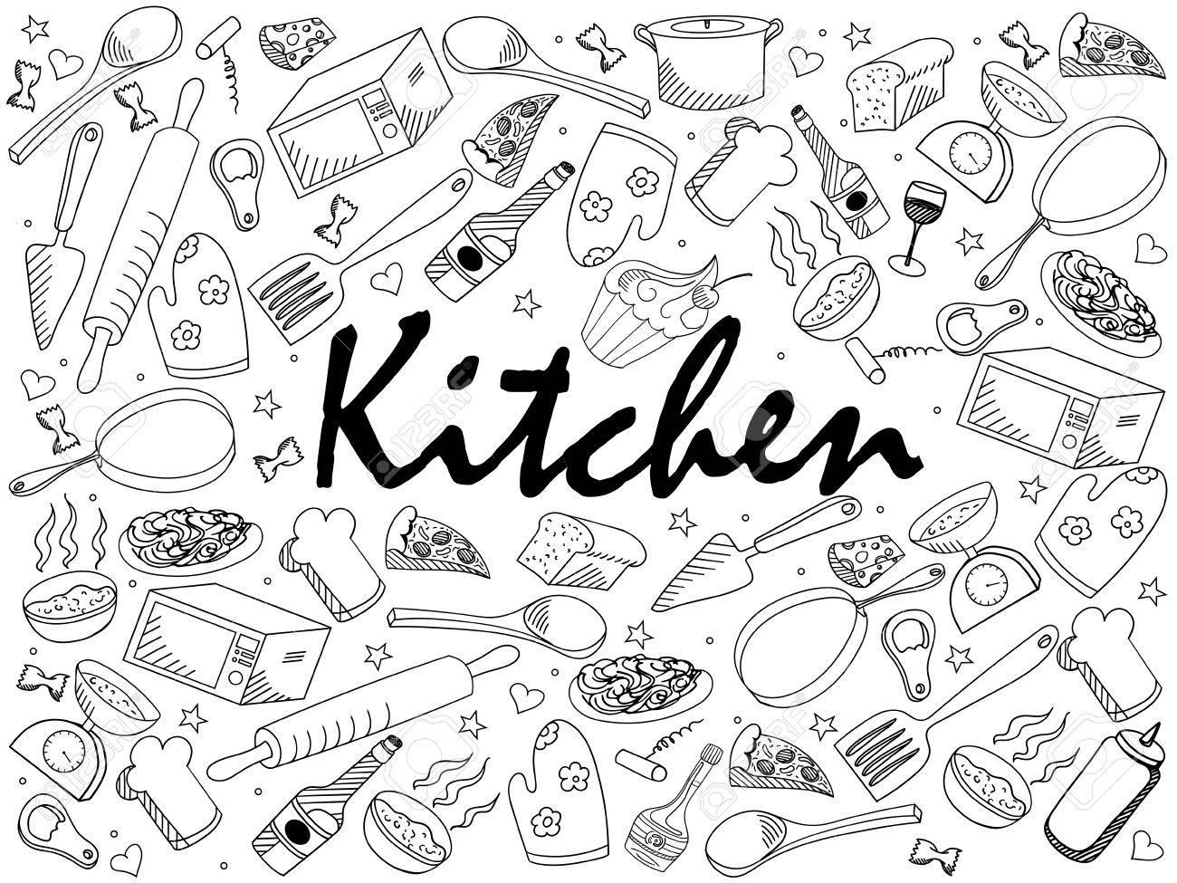 Cocina Para Colorear Ilustración Del Arte Línea De Libro De Diseño