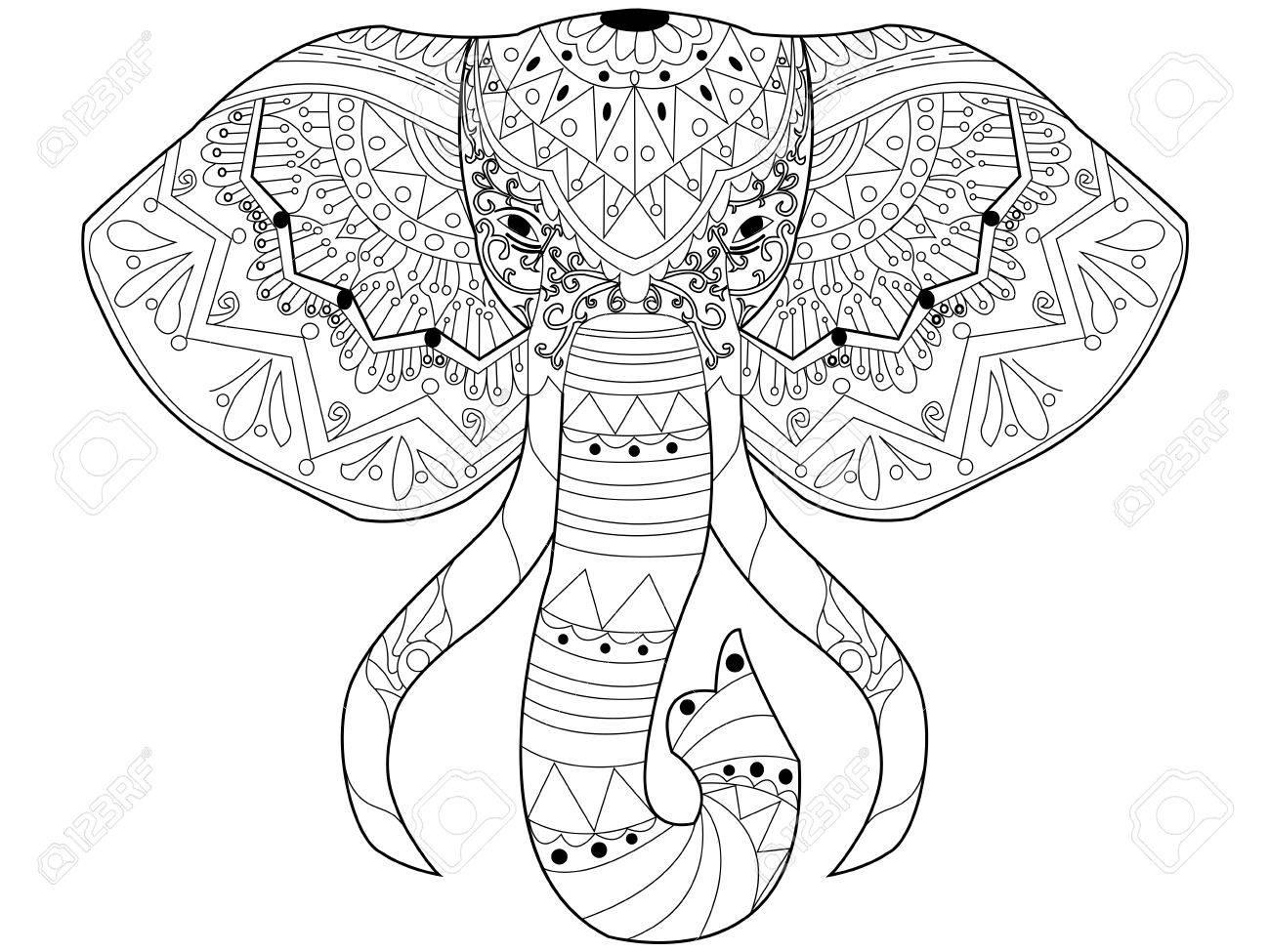 Elefant Malbuch Für Erwachsene Vektor-Illustration. Anti-Stress Für ...