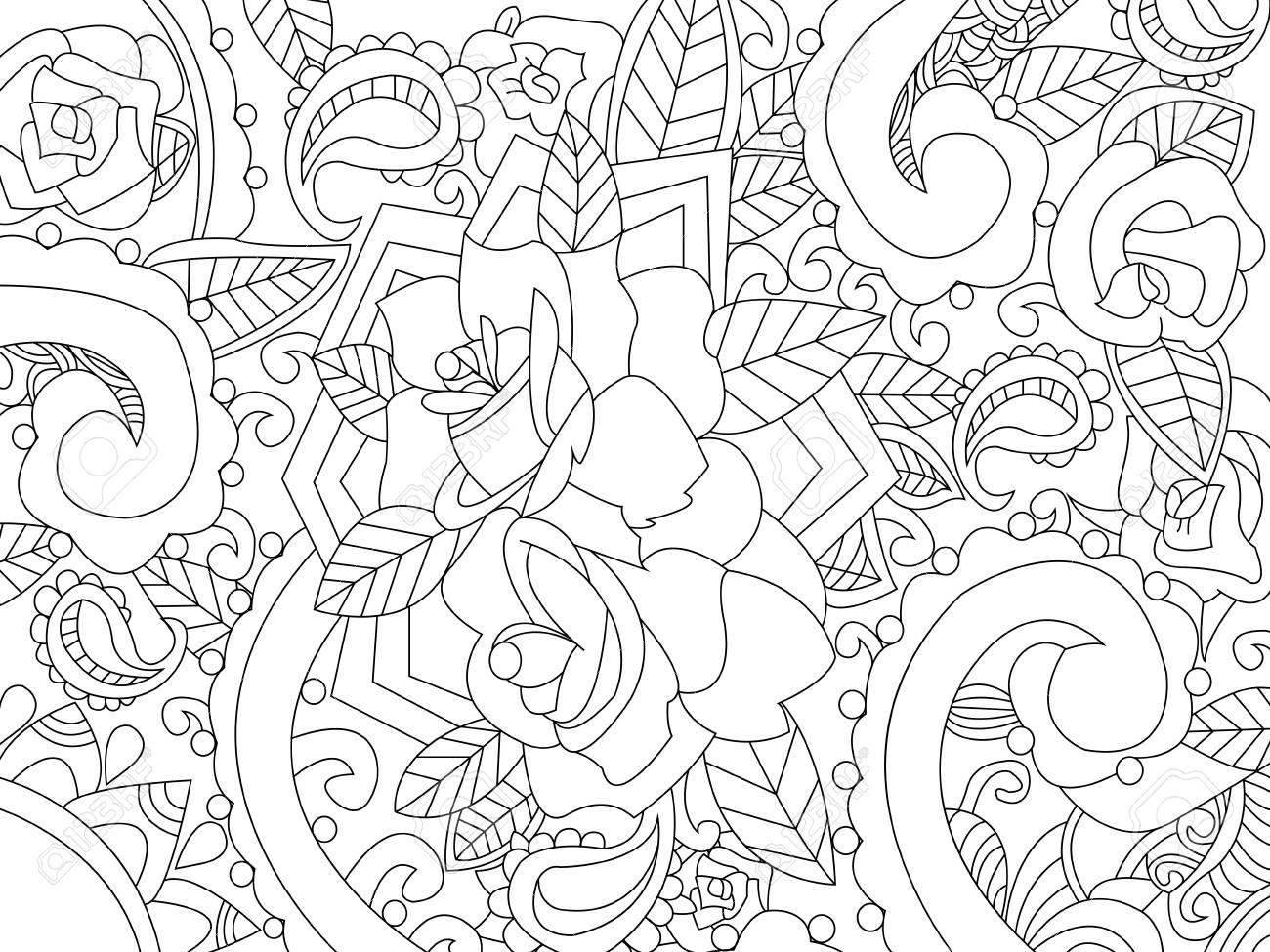 Libro Para Colorear Mandala Para La Ilustración Vectorial Adultos