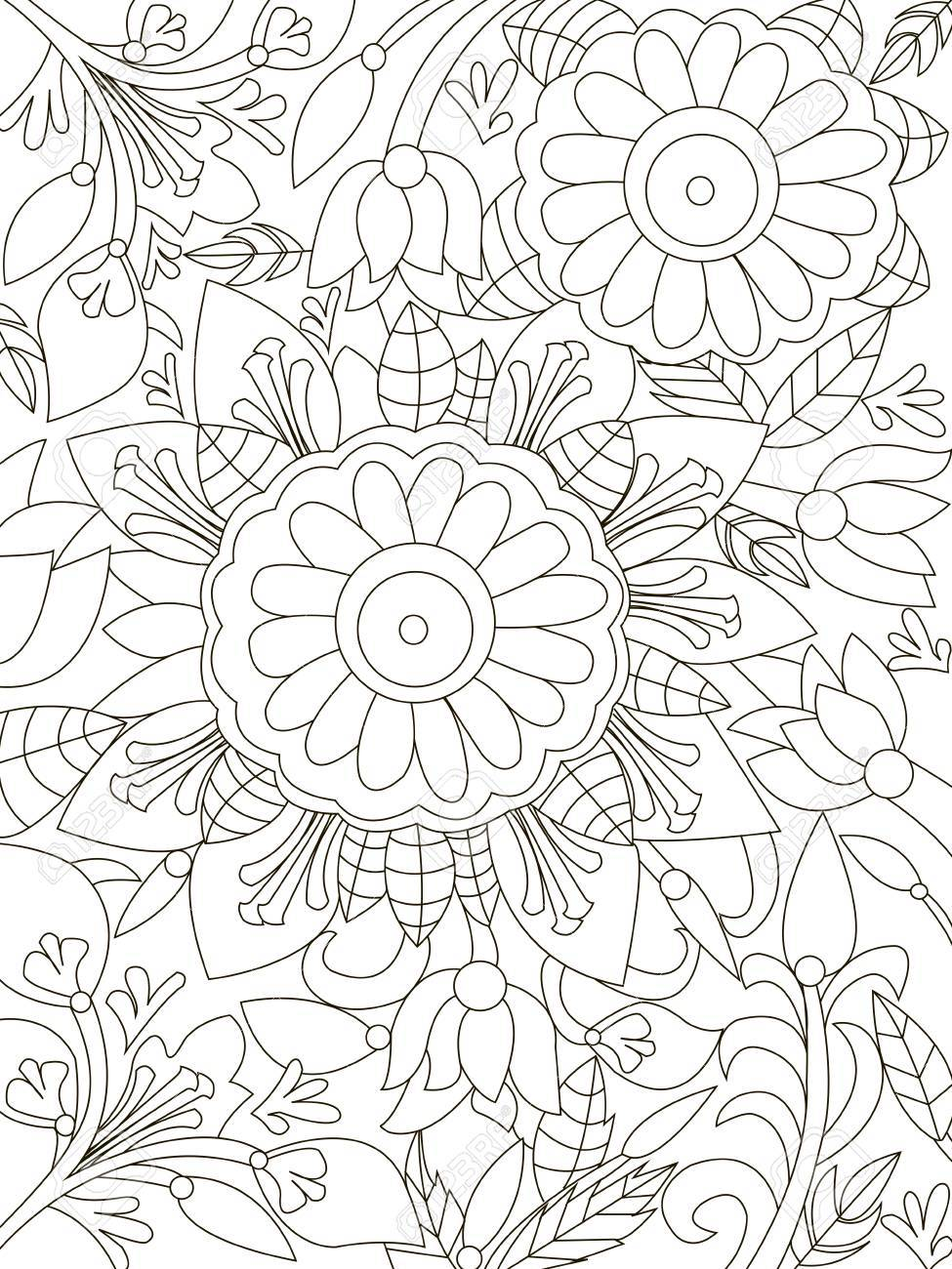 Mandala Coloring Book For Adults Vector Illustration Anti Stress Adult Zentangle