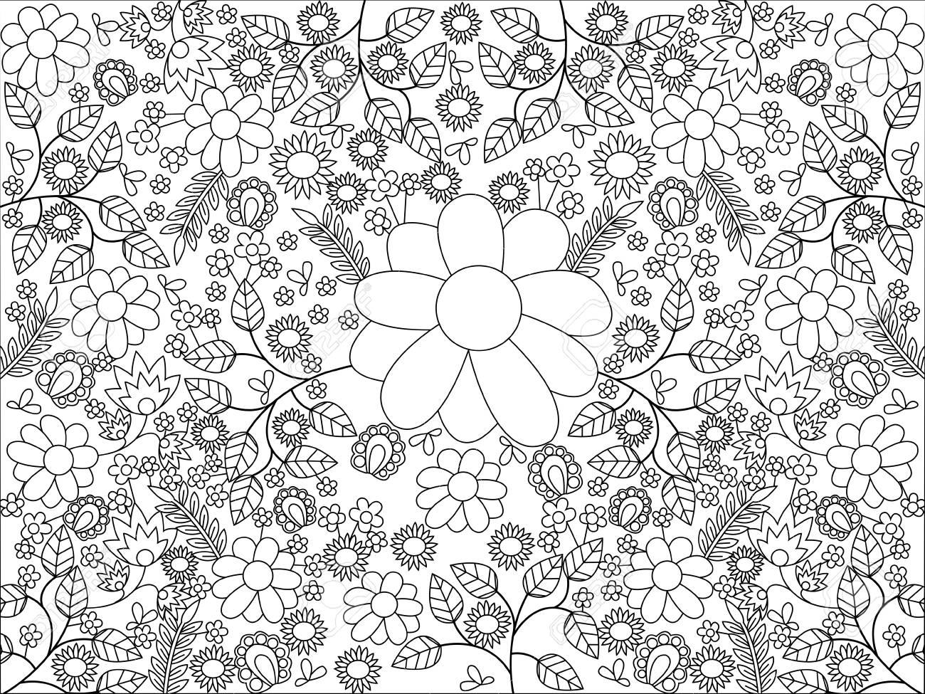 Libro Para Colorear Mandala Para La Ilustración Vectorial Adultos Antiestrés Colorear Para Adultos Estilo De Zentangle Líneas Blancas Y Negras