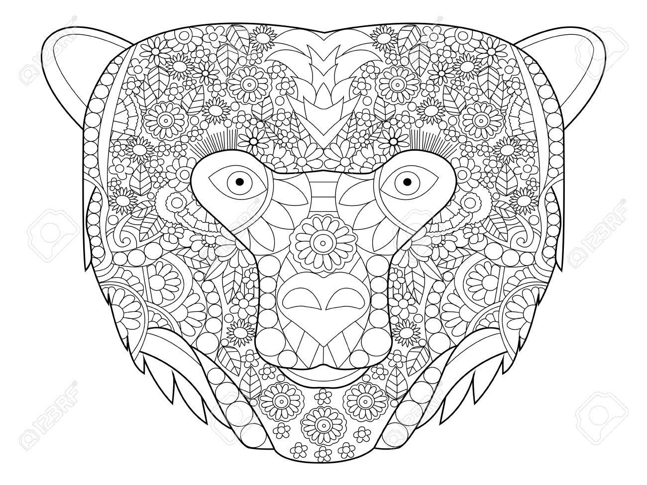Coloring adults stress - Bear Head Coloring Book For Adults Vector Illustration Anti Stress Coloring For Adult