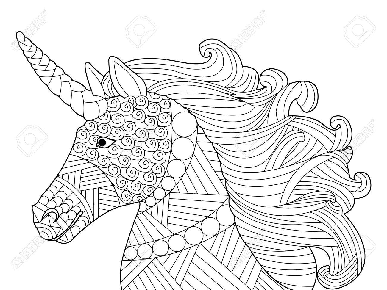 Head unicorn coloring book for adults vector Black and white lines Lace pattern Banque d