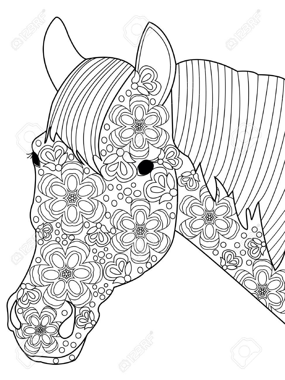 Head Horse Coloring Book For Adults Vector Illustration. Anti-stress ...