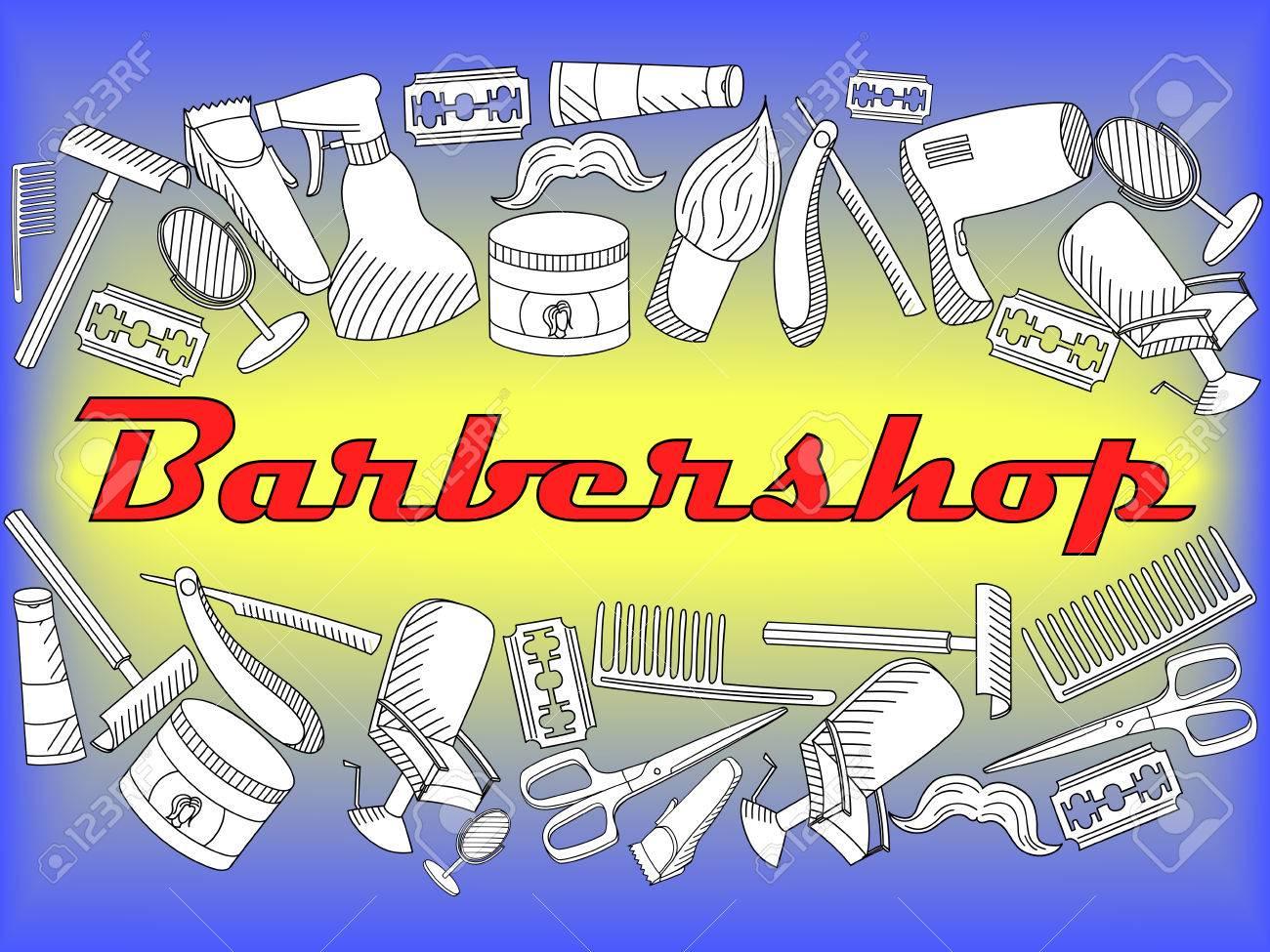 Doodle Del Arte De Línea Conjunto De Vectores De Personajes De Dibujos Animados Y Los Objetos De La Barbería Salón De Peluquería Para Colorear