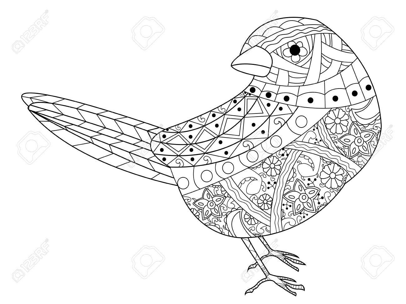 Sparrow Coloring Book For Adults Vector Illustration. Anti-stress ...