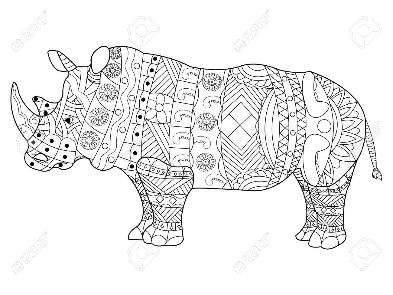 banque dimages rhinoceros livre de coloriage pour les adultes illustration vectorielle anti stress coloration pour les adultes les lignes noires et
