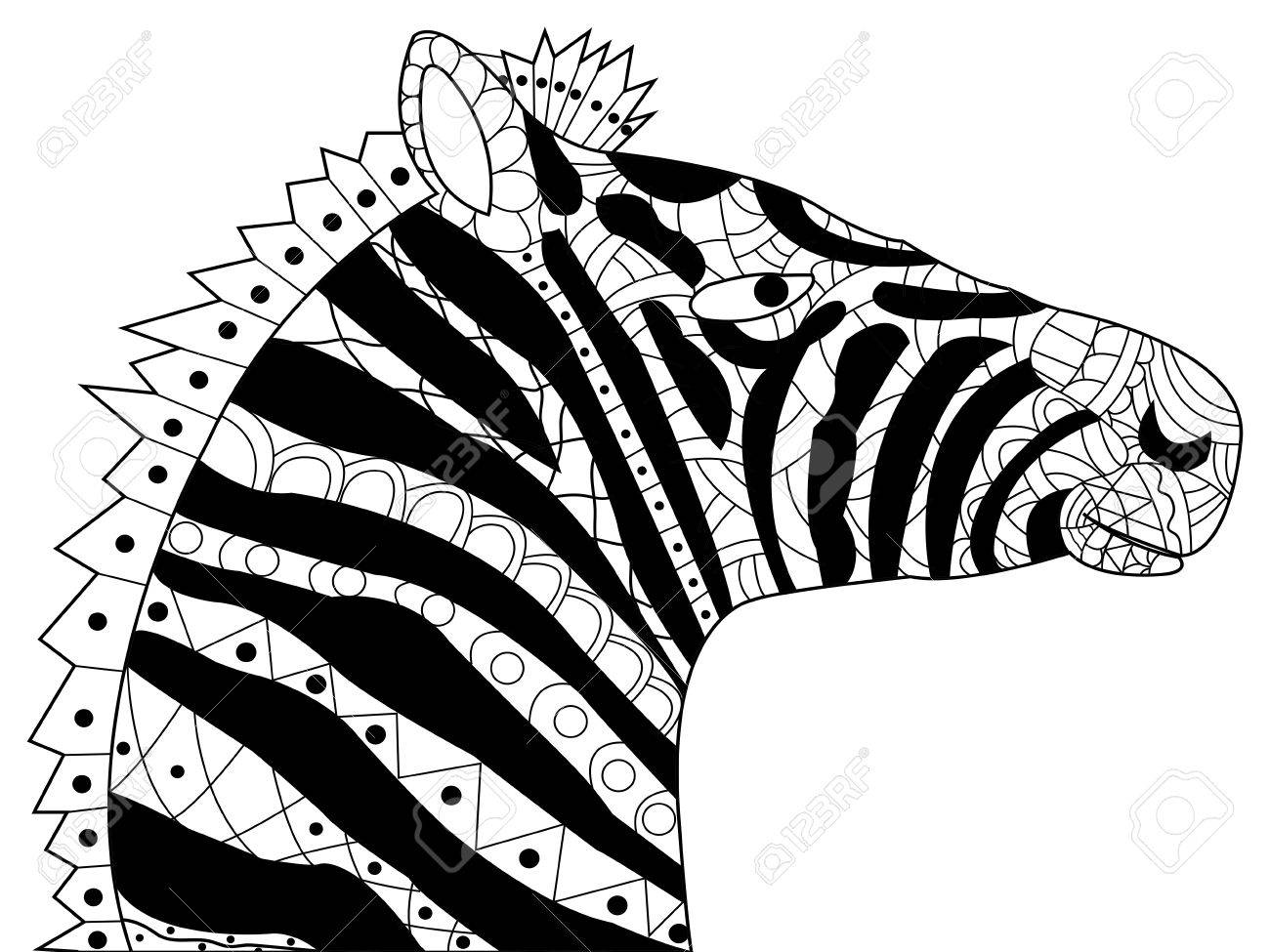 Head Zebra Coloring Book For Adults Illustration. Anti-stress ...
