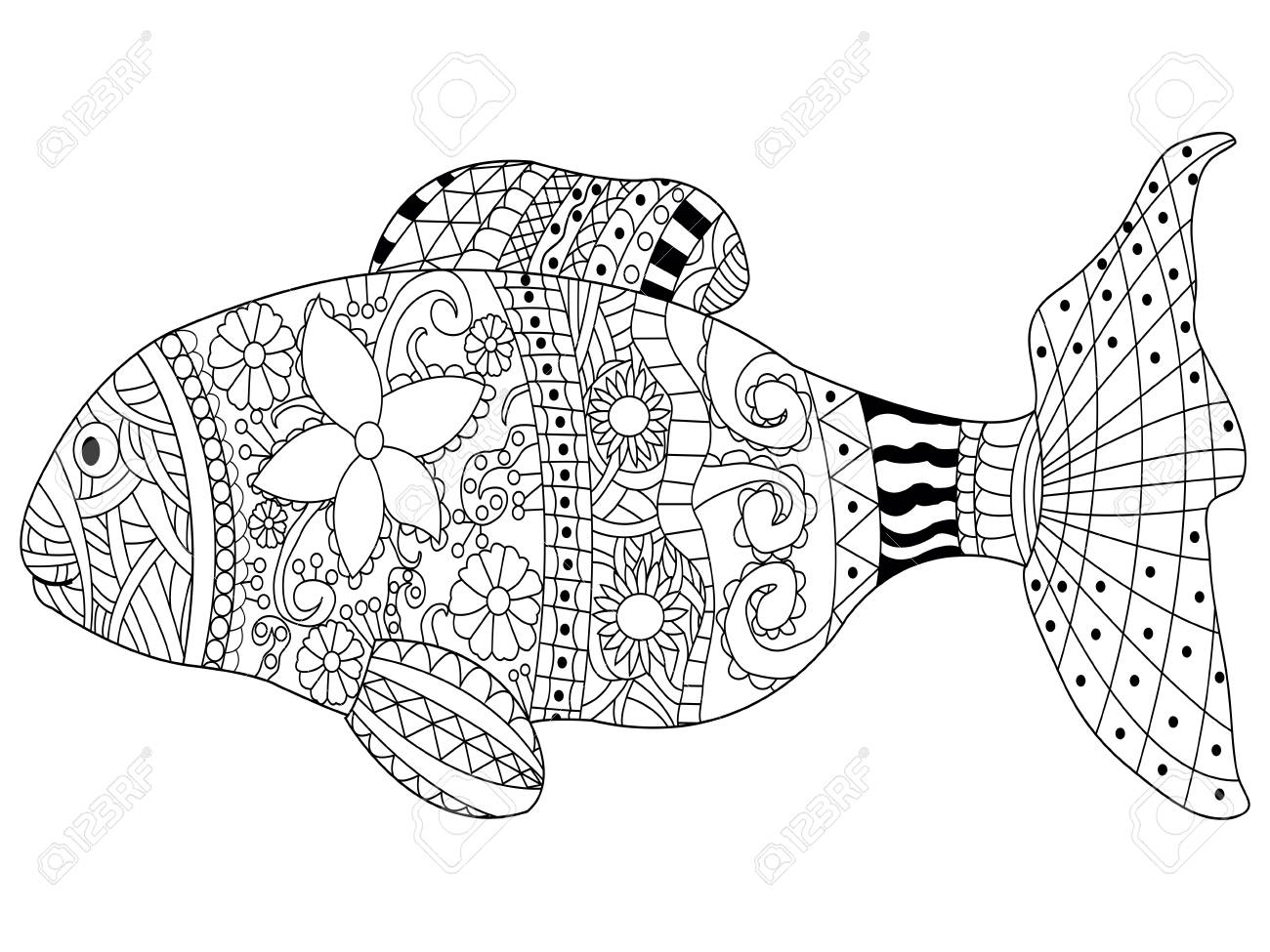 Fish Sea Animal Coloring Book For Adults Vector Illustration