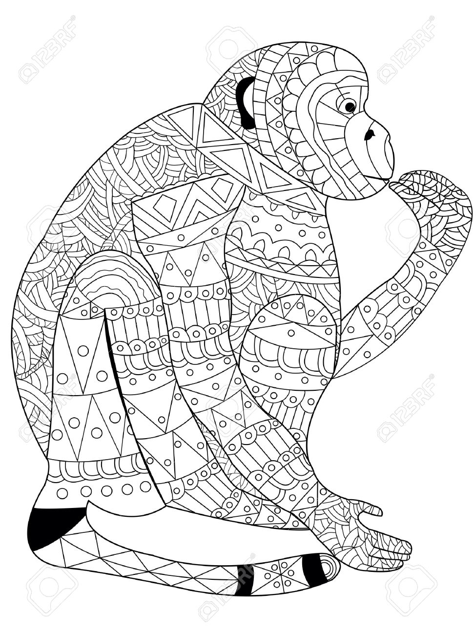 Monkey Coloring Book For Adults Vector Illustration. Anti-stress ...