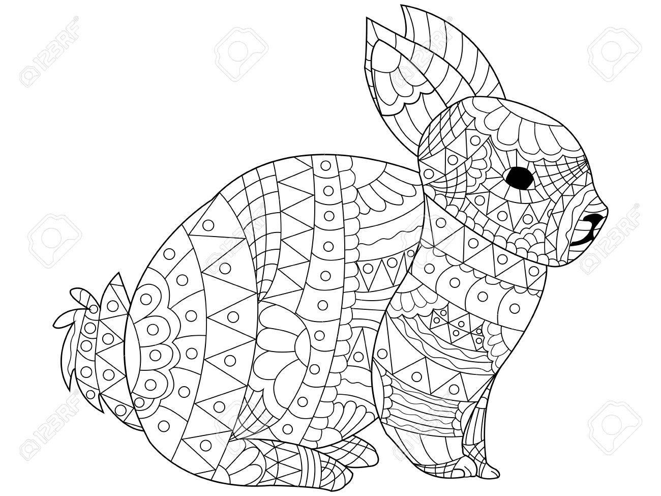 Kaninchen Färbung Haustier Erwachsenen Vektor-Illustration. Anti ...