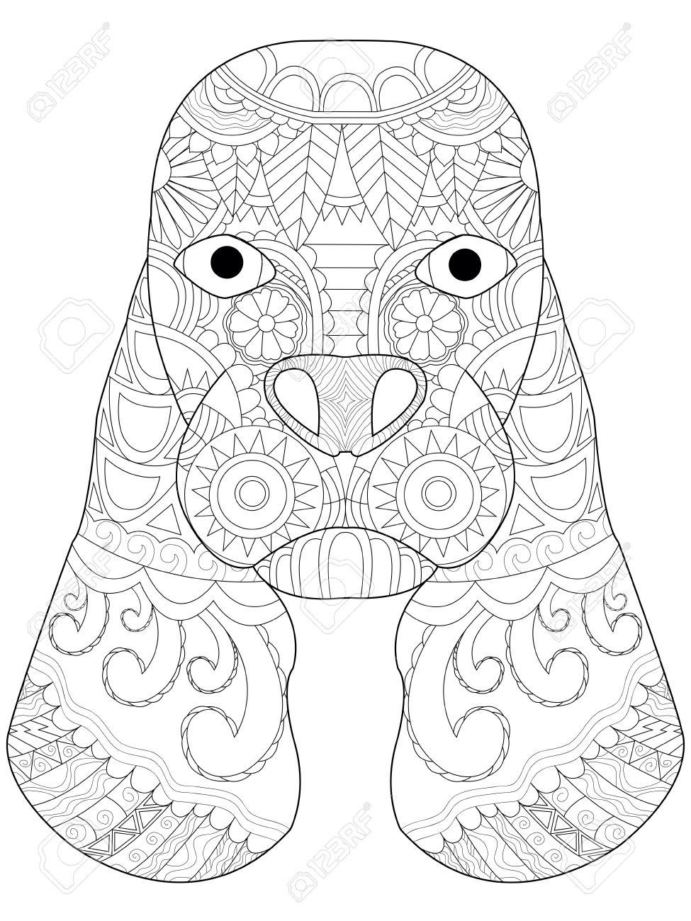 Libro Para Colorear Cabeza De Perro Para Los Adultos Ilustración ...