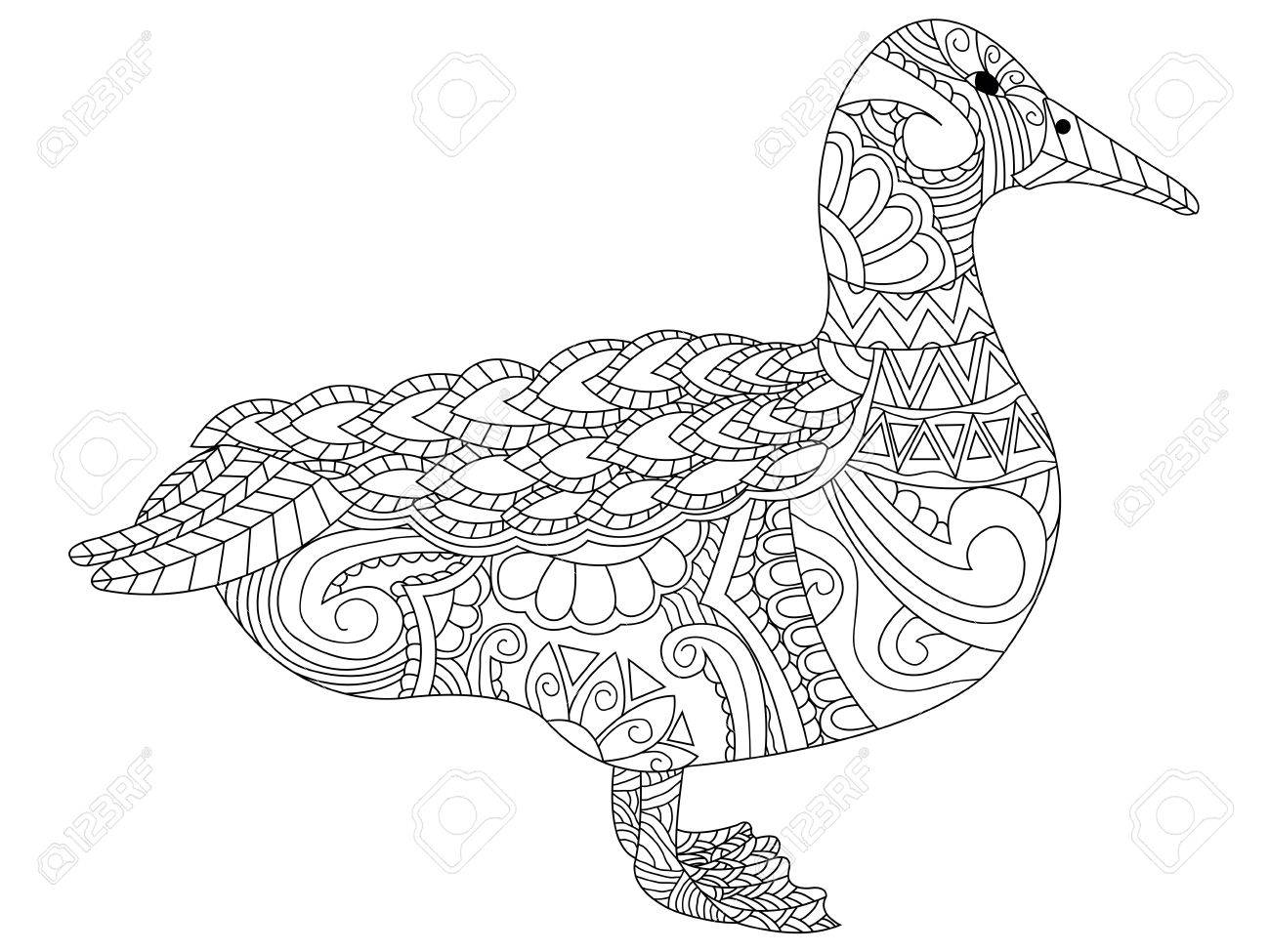 Goose With Ethnic Floral Doodle Pattern. Coloring Page - Entangle ...