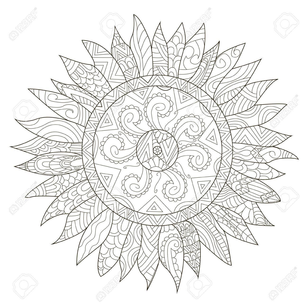 Mandala Para Colorear Flor De Girasol Para La Ilustración Vectorial