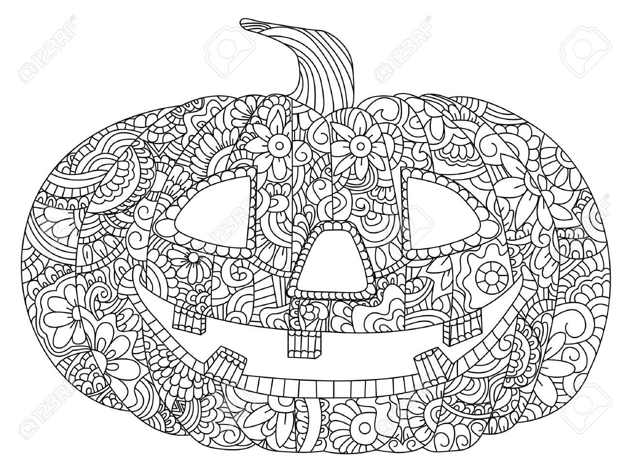 Pumpkin For Halloween Coloring Book Vector Illustration. Anti-stress ...