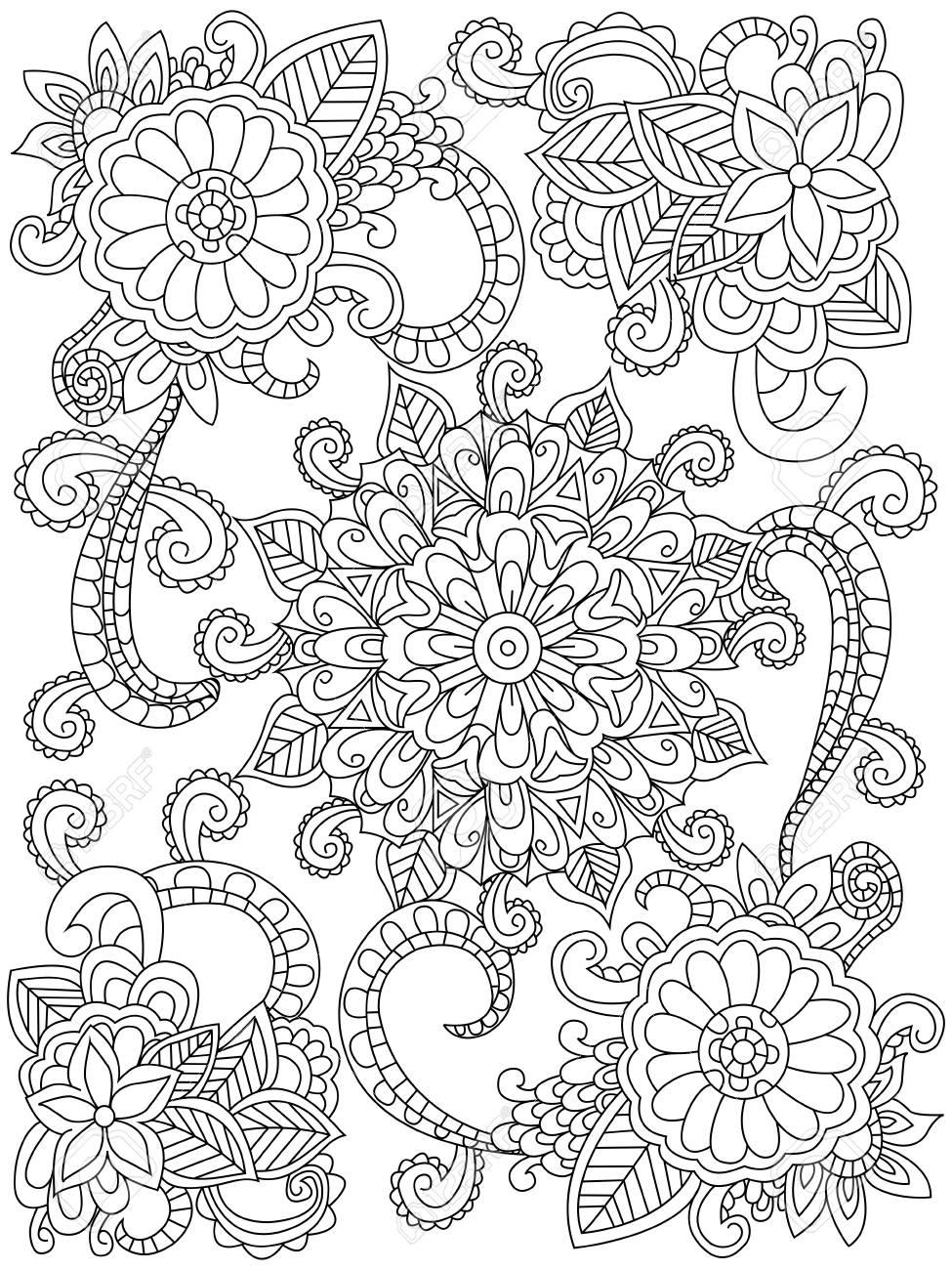 Mandala Para Colorear Flor Para Adultos Ilustración. Antiestrés