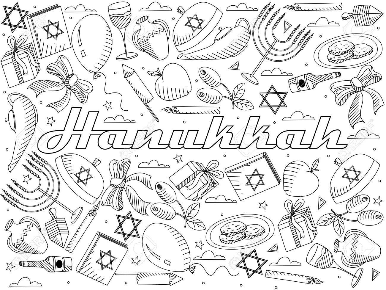 Hanukkah Para Colorear Línea De Diseño De Arte Ilustración Vectorial ...