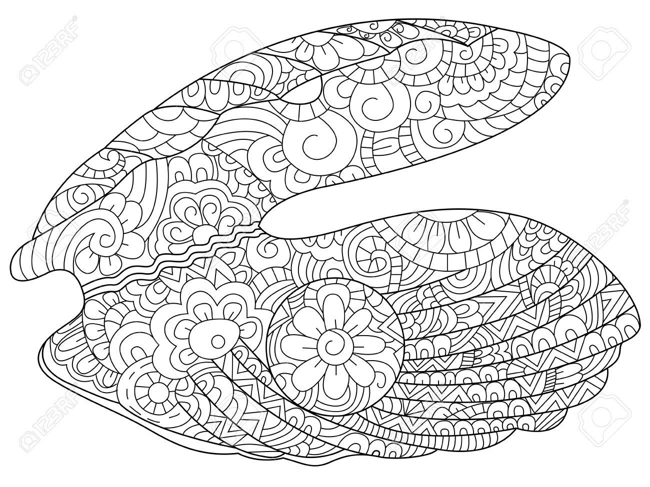 Ostra Con La Perla De Libro Para Colorear Para Los Adultos Ilustración Antiestrés Colorear Para Adultos Estilo Líneas Blancas Y Negro Ostreidae